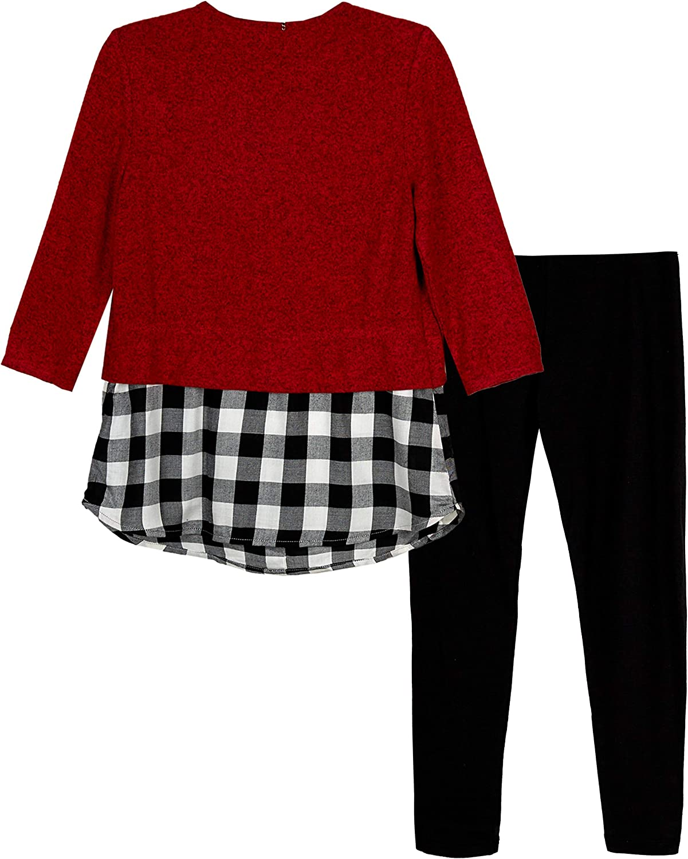 Amy Byer Girls Tie-Front Hangdown Top /& Legging Clothing Set