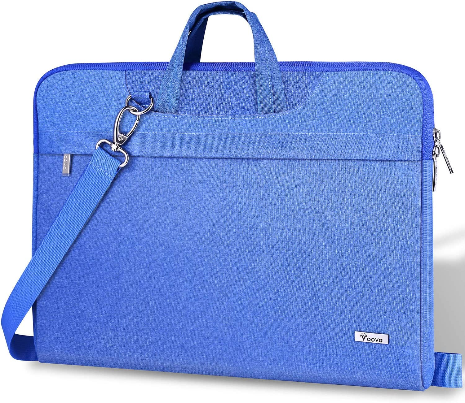 """Voova 14-15.6 Inch Laptop Sleeve Carrying Case, Slim Computer Shoulder Bag with Strap Compatible with MacBook Pro 15.4"""" 16"""" / Surface Book 2/Laptop 3 15"""" Chromebook XPS Messenger Briefcase, Light Blue"""