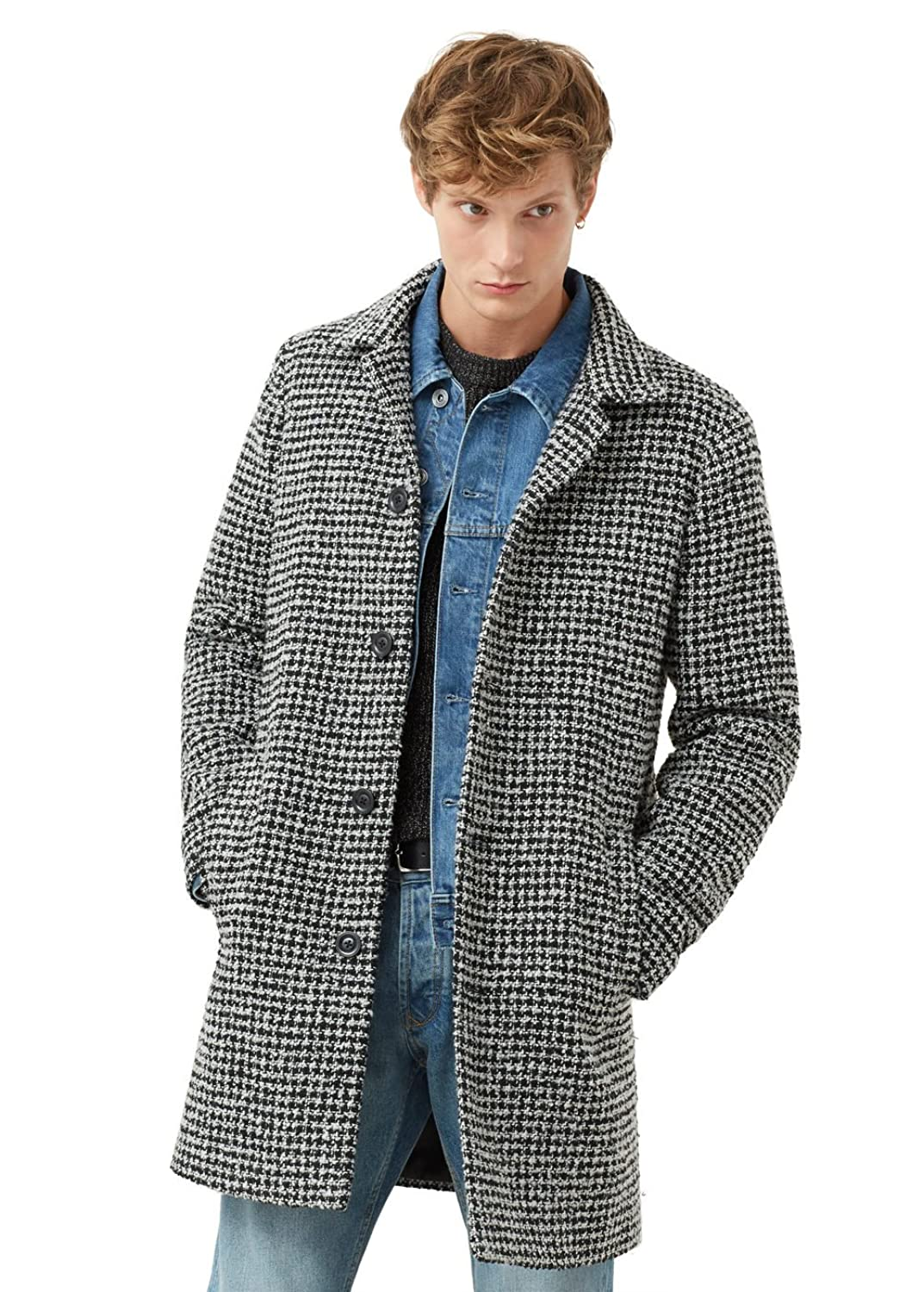 MANGO MAN - Tailored houndstooth Coats overcoat - Size:M - Color:Black
