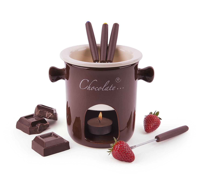 Excelsa Chocolate Servizio Fonduta Cioccolato 7Pz, Acciaio Inossidabile, Marrone, 12x12x13.5 cm 7 unità 12x12x13.5 cm 7 unità Bergamaschi & Vimercati 60287 60287_Crema/Marrone