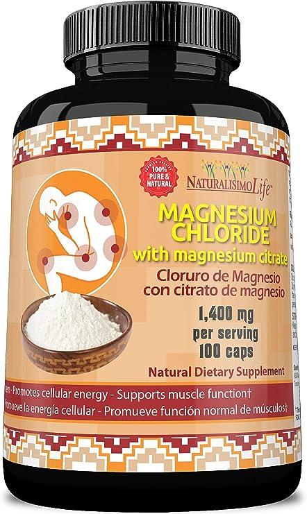 Magnesium Chloride (Cloruro de Magnesio) 1,400 per Serving 100 Capsules high Absorption with Magnesium Citrate
