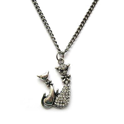 ec28868fd7b Saki Miu Twin Cat Necklace (Silver)  Amazon.co.uk  Jewellery