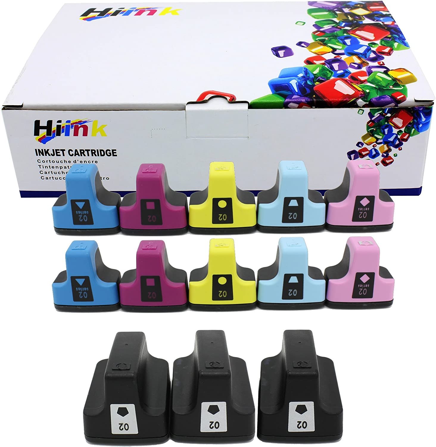 HIINK Remanufactured Ink Cartridge Replacement for HP 02 Ink Cartridges(3Black, 2Cyan, 2Magenta, 2Yellow, 2 Lt.Cyan, 2 Lt.Magenta. 13-Pack)