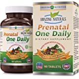 Amazing Naturals PRENATAL ONE DAILY Multivitamin* 90 Tablets * Organic Raw, Whole Food Multivitamins For New Moms and Moms-to-be