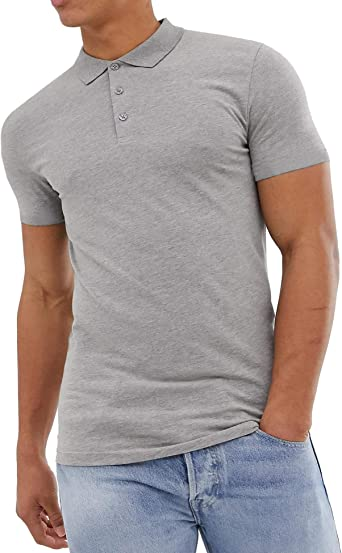Pacinoble Mens Casual Classic Short Sleeve Solid Cotton Slim Fit Polo Golf T-Shirts