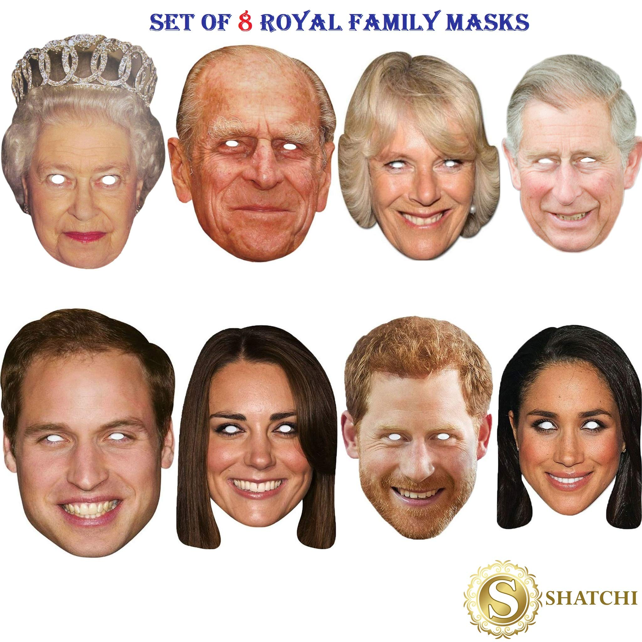 SHATCHI 11780 8 Pack Royal Family Queen Phillip Kate William Harry Charles Camilla Meghan Wedding Jubilee Supplies Celebrities Face Mask Hen and Stag Parties Fancy Dress, Multi