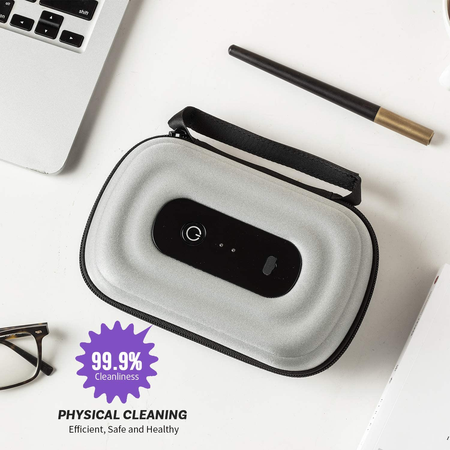 Keys 99.9/% Cleaned in 60s Watches WOLF ARMOR Cell Phone Cleaner Box for iPhone and Android Smartphone Can Be Used About 50+ Times When Fully Charged USB Charging Jewelry and Other Small Objects