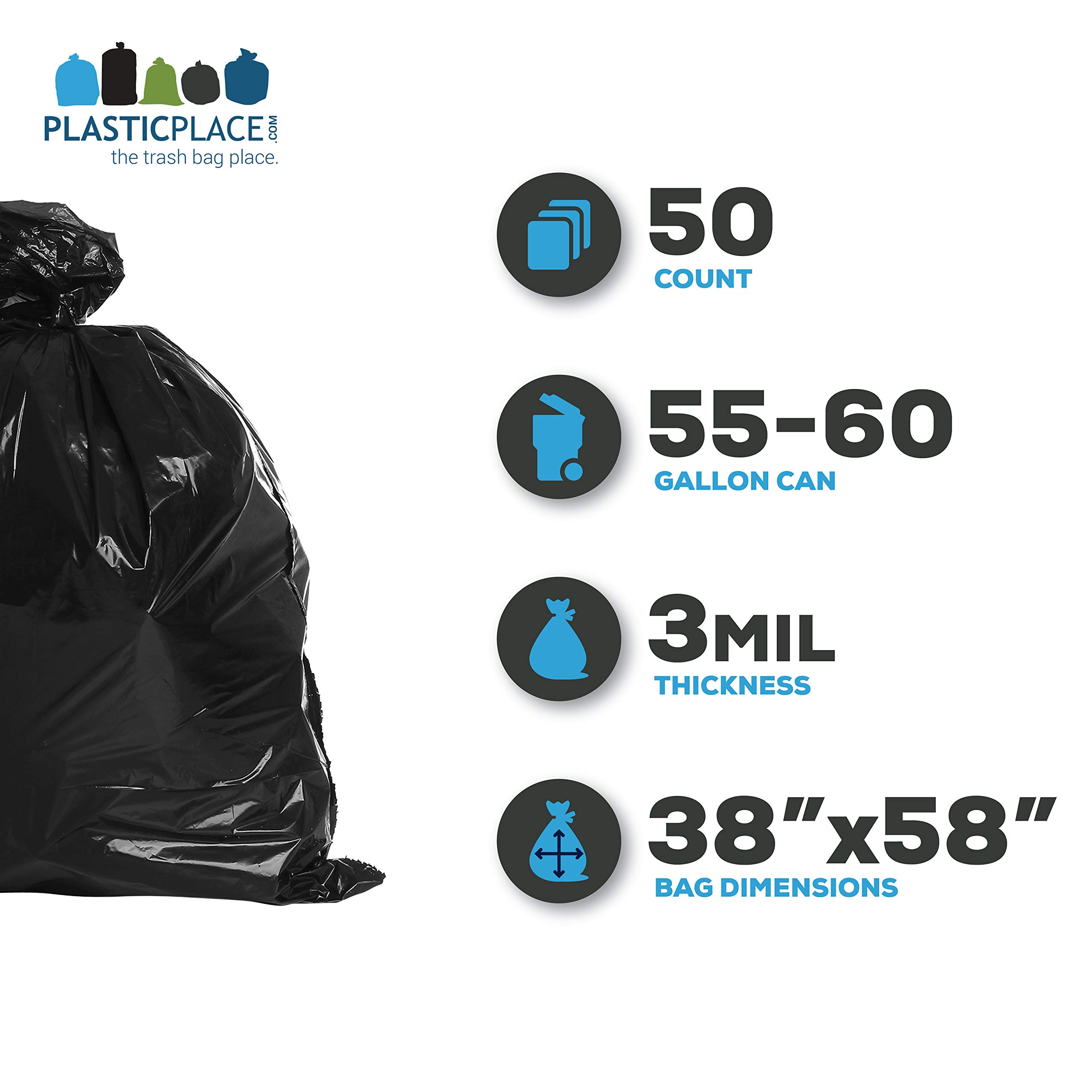 Plasticplace Contractor Trash Bags 55-60 Gallon │ 3.0 Mil │ Black Heavy Duty Garbage Bag │ 38'' x 58'' (50 Count) by Plasticplace (Image #2)