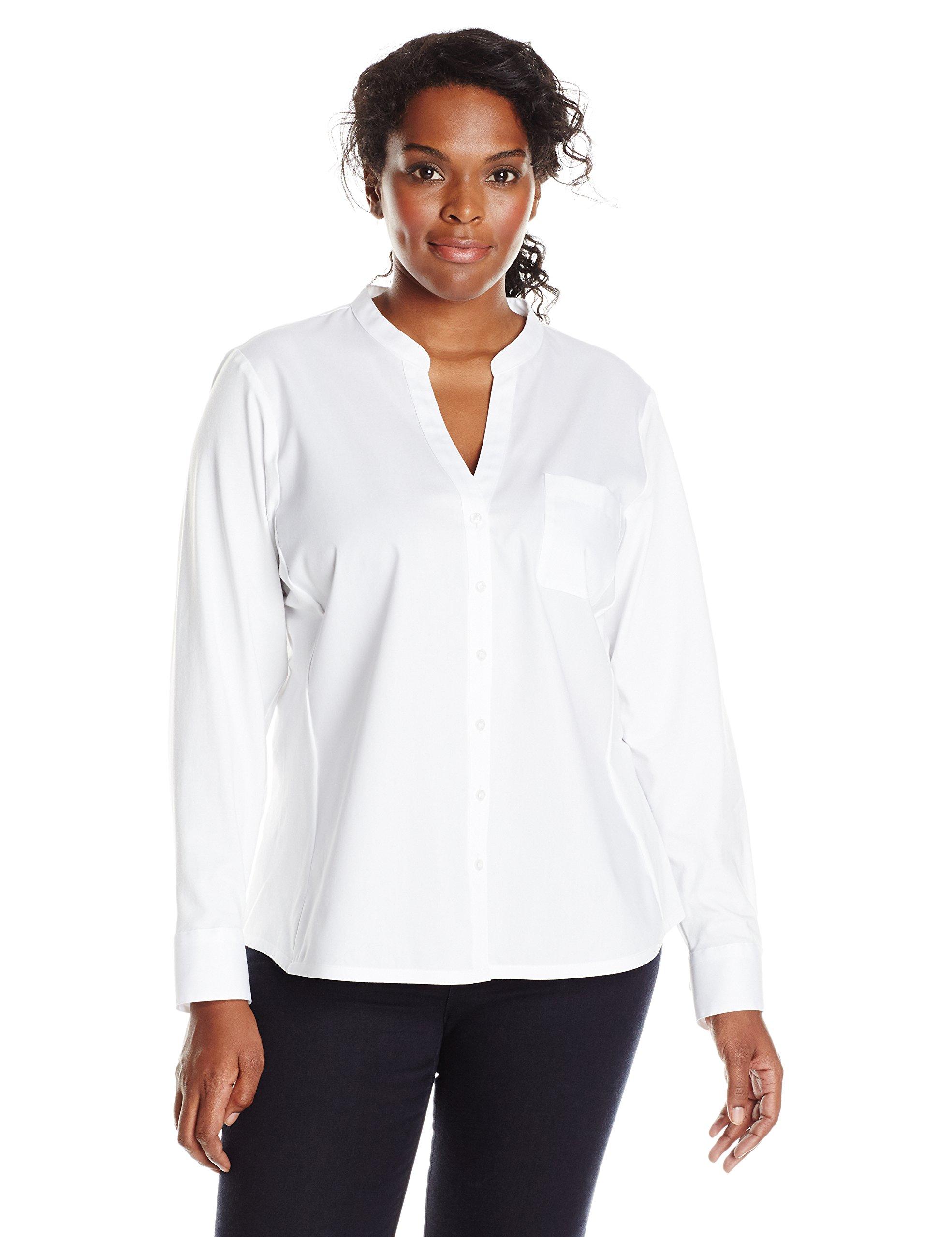 Calvin Klein Women's Plus-Size Non-Iron Knit Combo Shirt, Birch, 3X