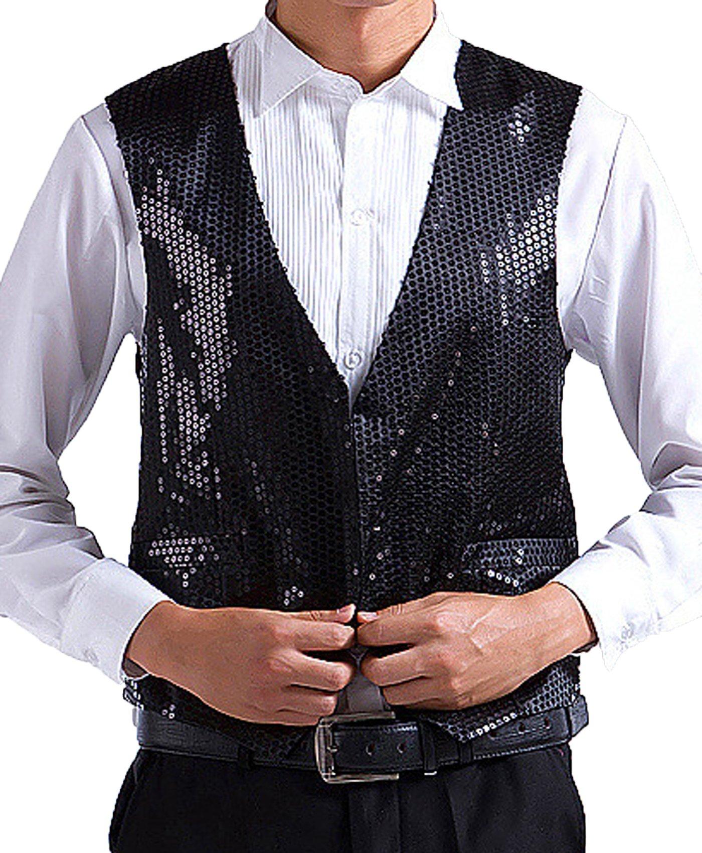 JOKHOO Men's Sequins Vest,Black,Small