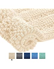 Home Beyond Luxury Stripe Chenille Bath Mat Rug, Ultra Soft Absorbent Shaggy Rugs, Thick Plush Non-Slip Rugs for Bathroom, Machine Washable