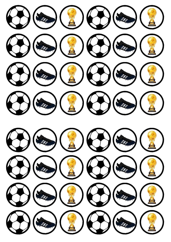 # 2 Fútbol 48 comestible Premium de grosor edulcorados vainilla, oblea Rice Paper Cupcake Toppers/adornos