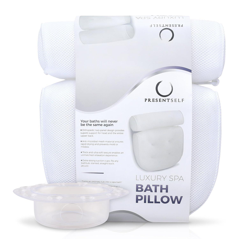 Gorilla Grip Original Premium Spa Bath Pillow with 6 Suction Cups ...