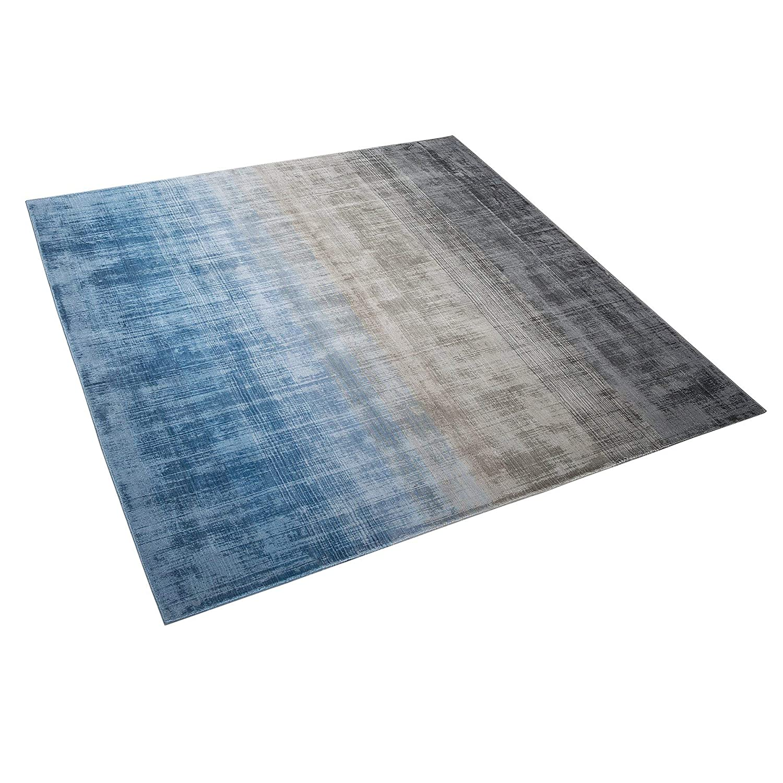 Beliani Teppich grau blau 200 x 200 cm Kurzflor ERCIS