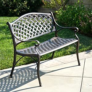 Belleze Outdoor Patio Furniture Garden Bench Cast Aluminum, Antique Copper