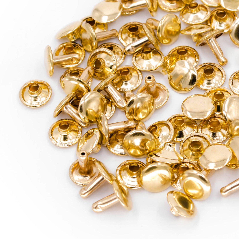 Weddecor decoraci/ón de costura de zapatos metal 6 mm dorado para remaches de repuesto Remaches tubulares de doble capa manualidades color oro rosa 100 unidades 6 mm bolsos sombrero