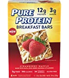 Pure Protein Breakfast Bar, Strawberry Waffle, 4 Count Multipack, Gluten Free Soft and Chewy Cereal Bar with Oats, Quinoa, & Chia Seeds, Excellent Source of Fiber and Protein