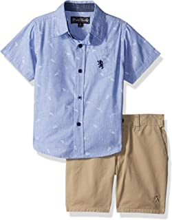 English Laundry Boys' Printed Chambray Sport Shirt and Twill Short
