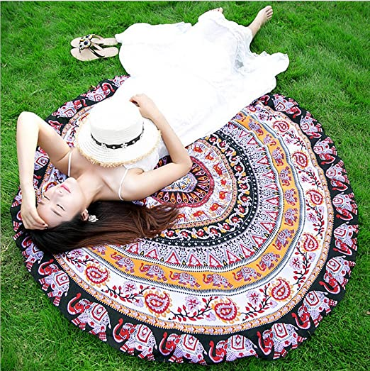 15 opinioni per Sunroyal® Asciugamano Teli da mare Decorative Wall Hanging letto rotondo foglio