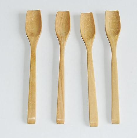 Juego de té de madera 4 Tembusu/cucharillas de café, hecho a mano en