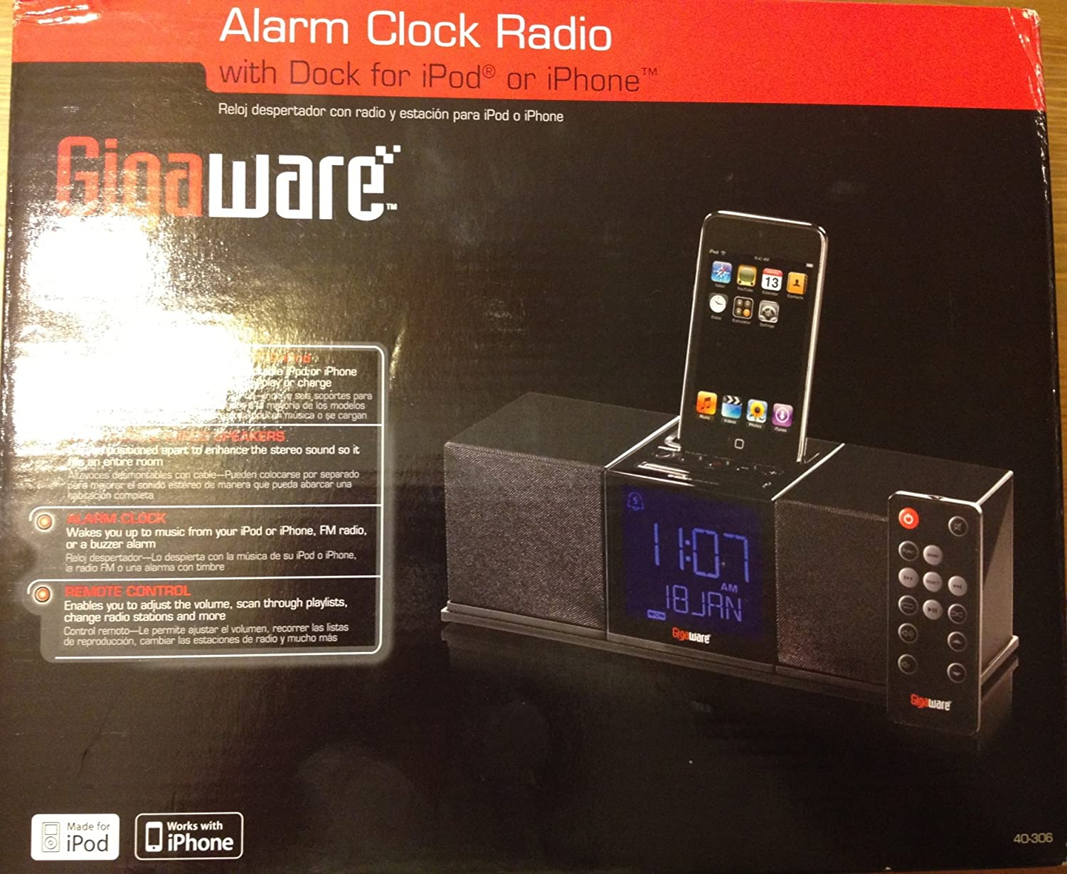 Amazon.com: Alarm Clock Radio with Dock for Ipod or Iphone: Home Audio & Theater