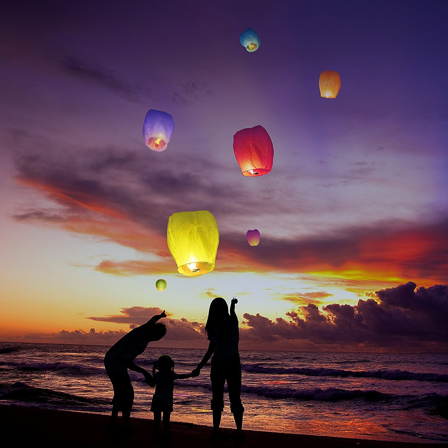Nuluphu Sky Lanterns 10-Pack, Fully Assembled and100% Biodegradable (No Metal Wire),for Any Birthdays, Parties, New Years,Funeral, Memorial Ceremonies, and More (White) by Nuluphu