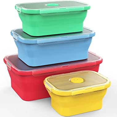 Vremi Silicone Food Storage Containers with BPA Free Airtight Plastic Lids - Set of 4 Small and Large Collapsible Meal Prep Container for Kitchen or Kids Lunch Boxes - Microwave and Freezer Safe