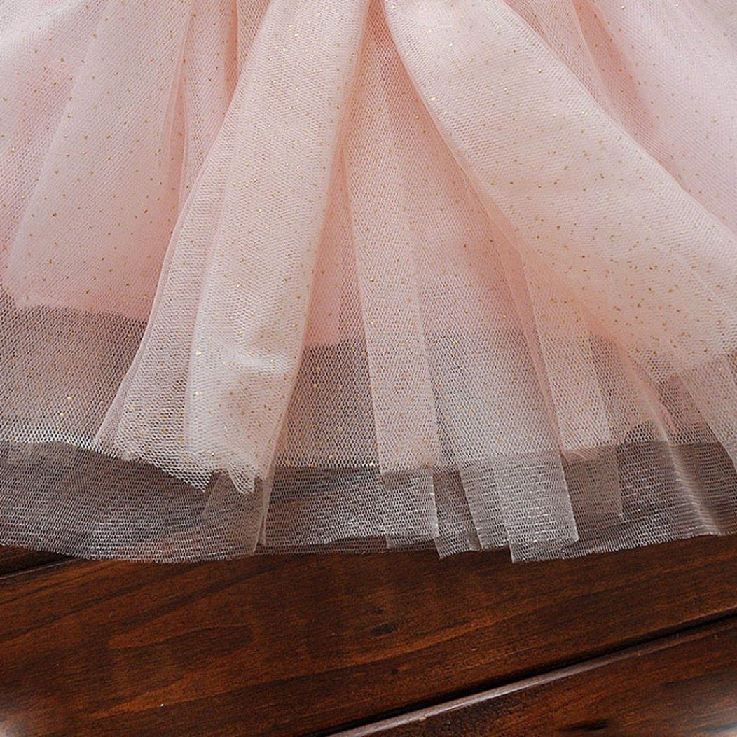 Inkach Baby Girls Princess Dress Toddler Long Sleeve Elegant Party Tulle Dresses Pink, XL