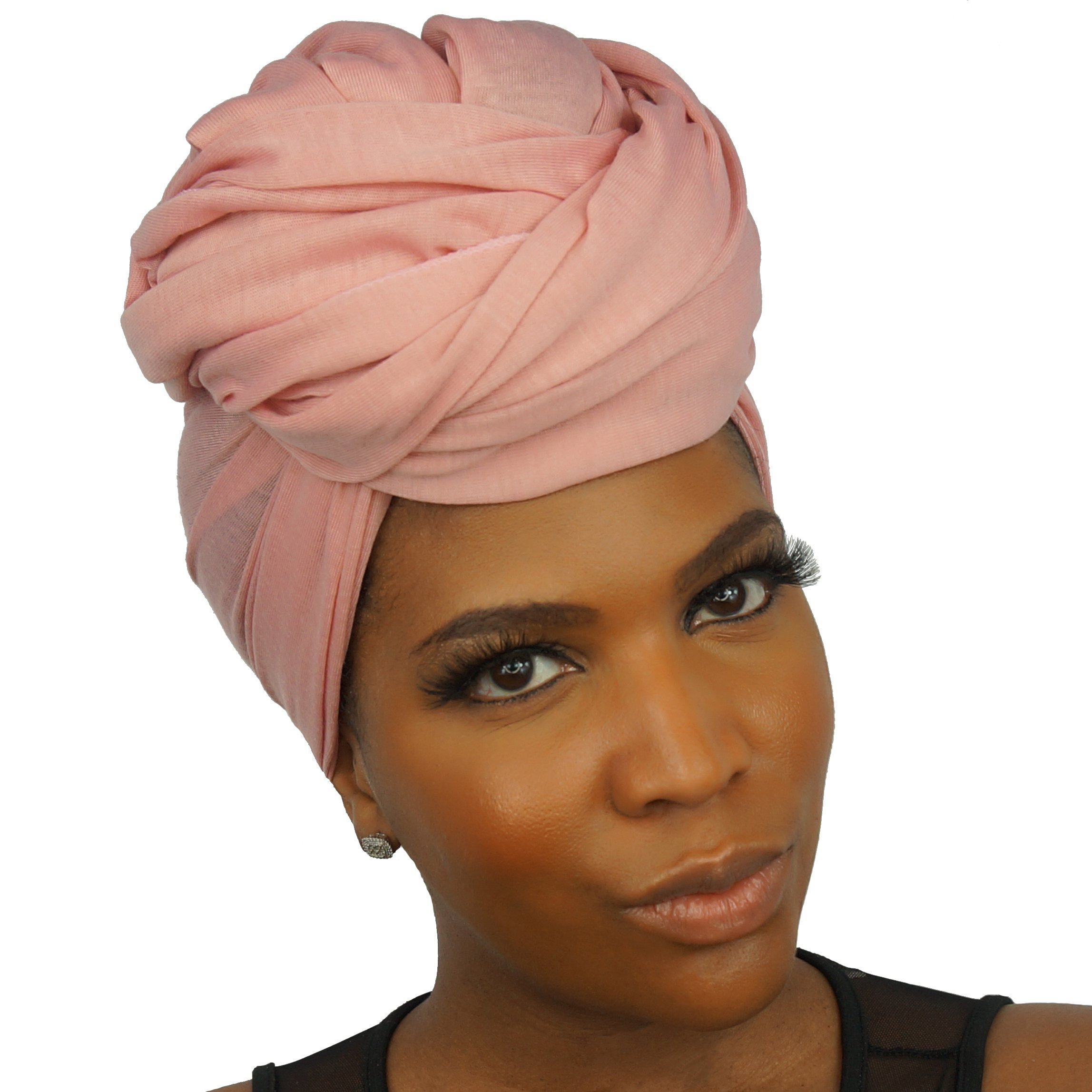 The Urban Turbanista Stretch Jersey Knit Head Wrap - Long Headwrap Scarf Tie by (70'' x 32'', Coral Pink) by The Urban Turbanista (Image #3)
