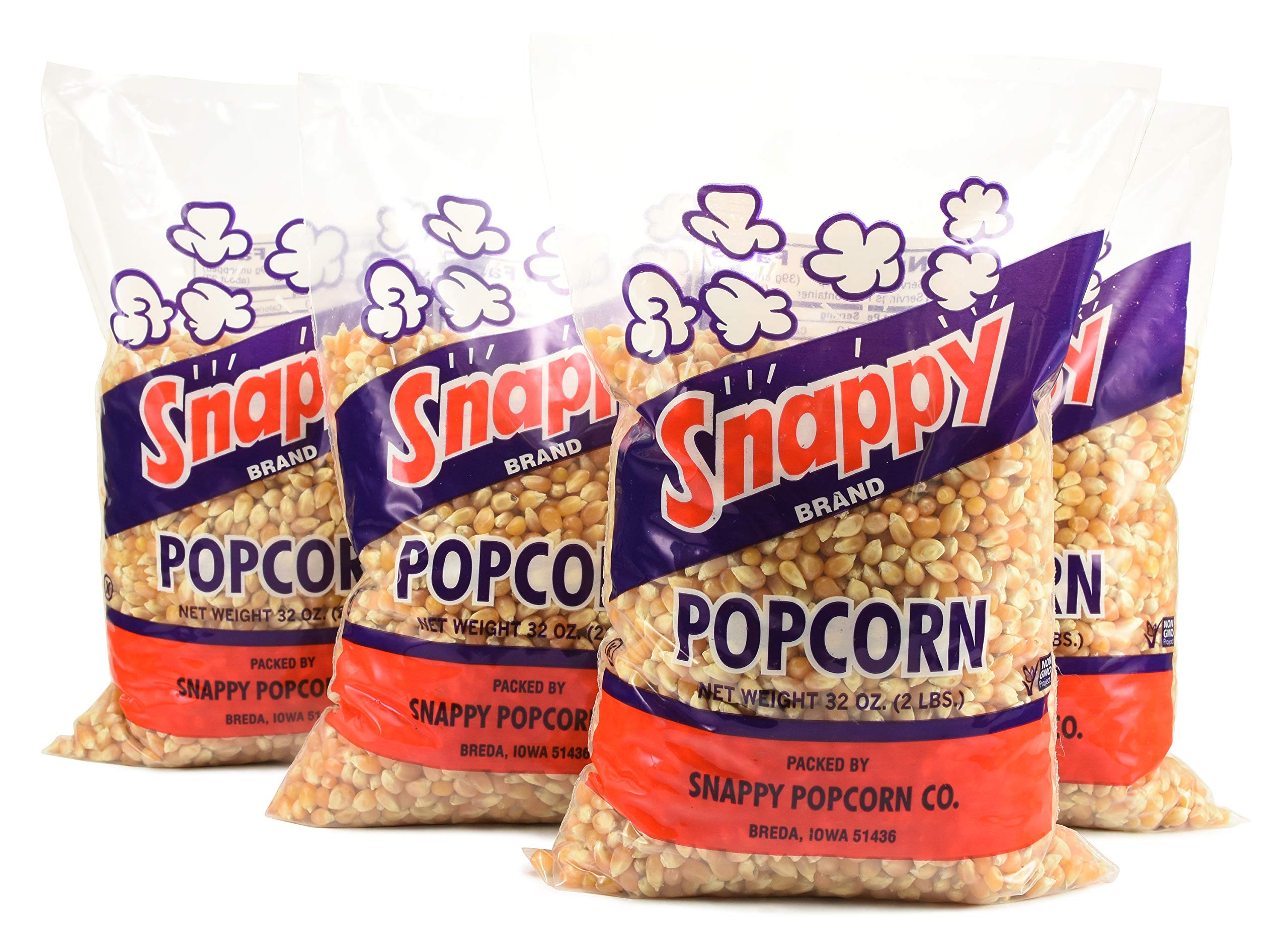 Snappy Yellow Popcorn Kernels Bulk, 4 Pack, 2lb bags - Raw Kernels for Popcorn Machines, Air Poppers and Popping by SNAPPY
