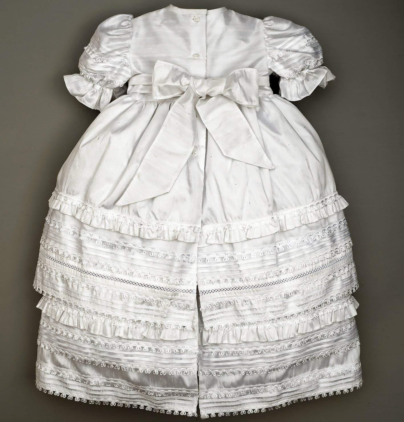 3de43886f Amazon.com: Beautiful Baby Girl Christening Gown Burbvus G002   Baptism  Heirloom Set, Matching Shoes & Bonnet   Handmade Baptism Dress Classical  Design: ...