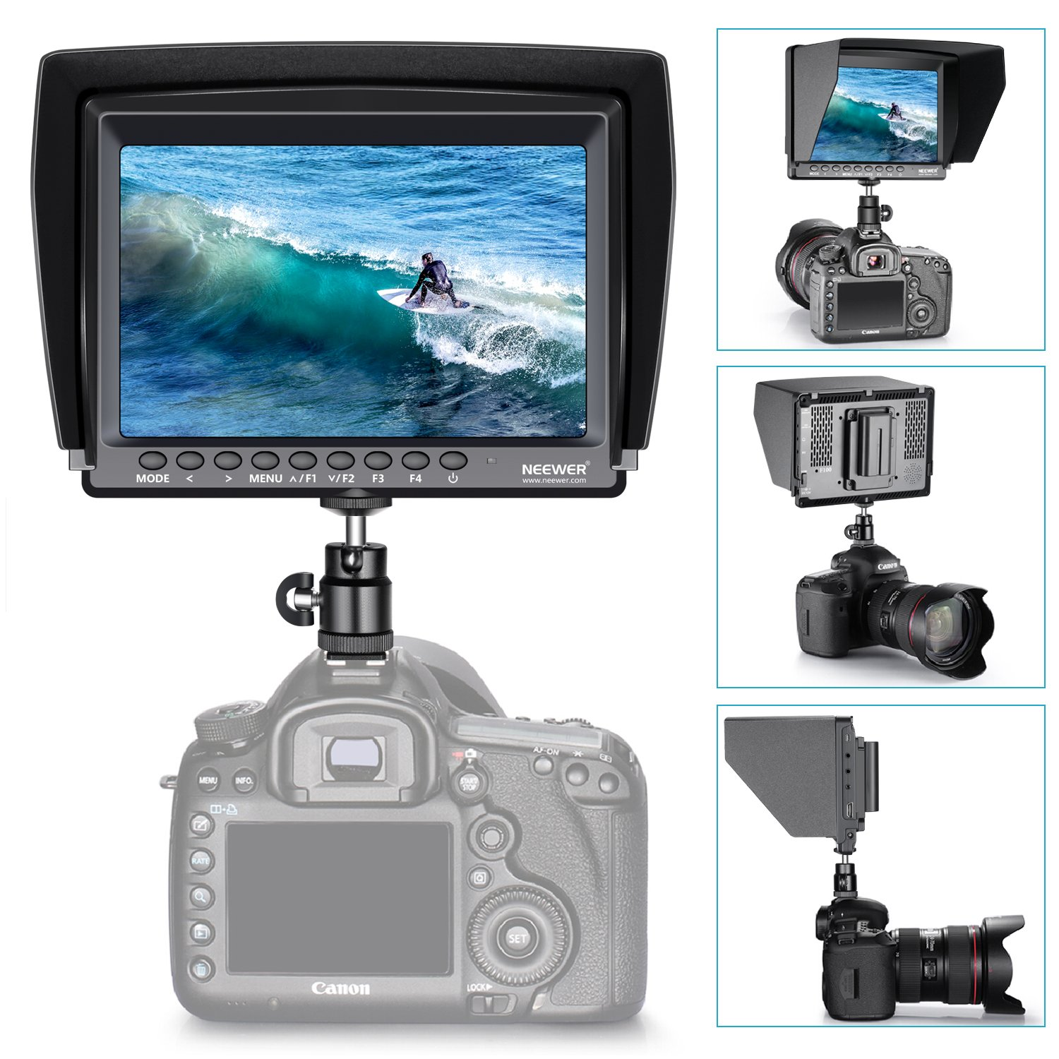 Neewer F100 7-inch 1280x800 IPS Screen Camera Field Monitor Kit: Support 4k input with 2600mAh Rechargeable Li-ion Battery, USB Battery Charger and 11.8-inch Magic Arm for DSLR Camera/Camcorder by Neewer (Image #4)