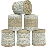 Nougat Decor Natural Burlap Ribbon with White Lace Trims, 6 Rolls/ Package, 78 Inches x 2.3 Inches Each