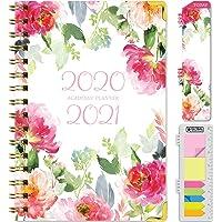 Hardcover - Planificador anual 2020-2021 (junio de 2020 a julio de 2021) 14 x 8 cm, agenda mensual diaria semanal mensual. Marcapáginas, carpeta de bolsillo y juego de notas adhesivas (florales legantes)