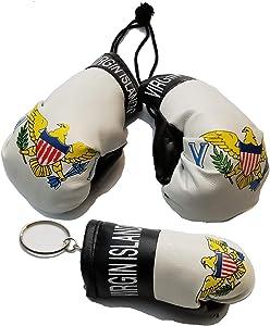 BUNFIREs 2 Pcs US Virgin Islands USVI Flag Mini Banner Boxing Gloves Rear View Mirror & Key Chain VI Country Flag Logo