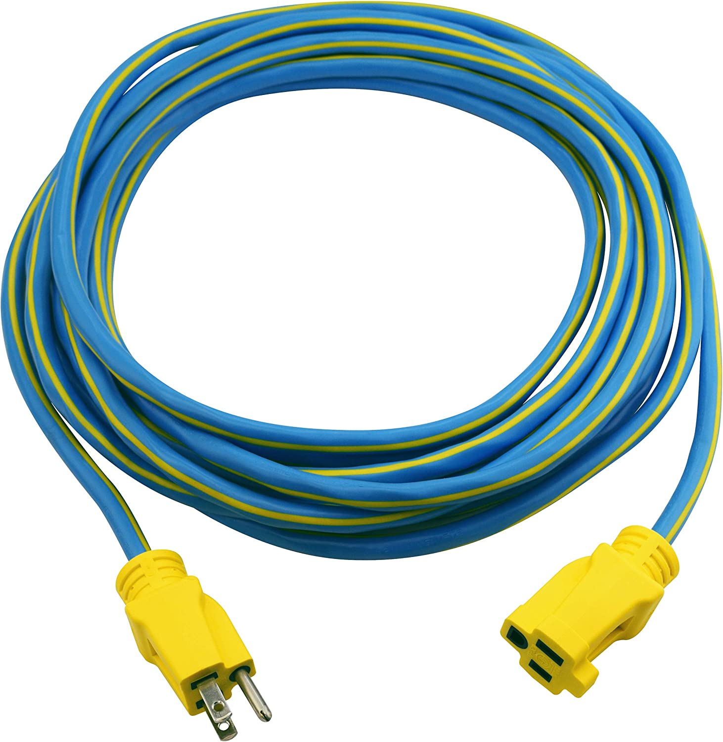 Clear Power 25 ft Heavy Duty Outdoor Extension Cord 14/3 SJTW, Blue&Yellow, Water & Weather Resistant, Flame Retardant, 3 Prong Grounded Plug, CP10132