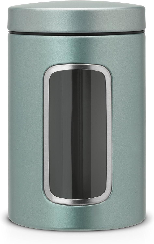 Brabantia 484360 - Bote con mirilla, 1,4 l, color menta metalizada