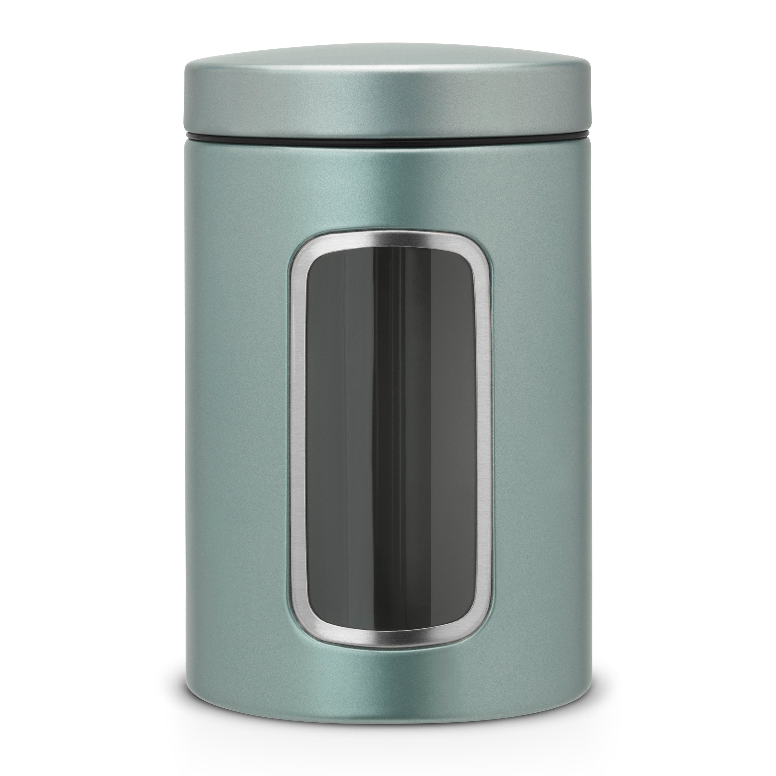 Brabantia Round Canister Jar with Window and Accessories, 1.4 L - Metallic Mint