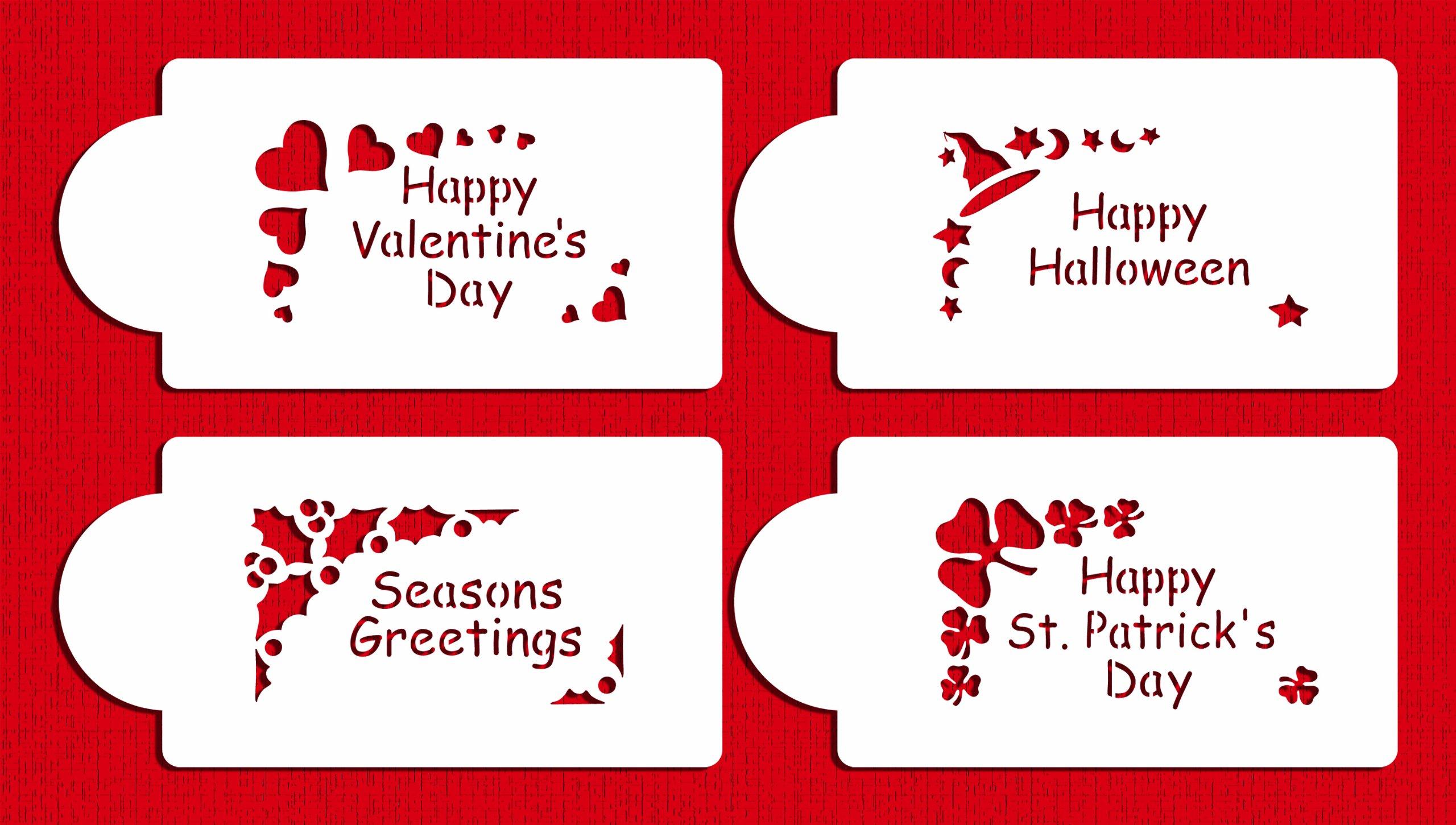 Designer Stencils C310 Holiday Corners Cookie Stencils, (Happy Valentine's Day, Happy Halloween, Happy St Patrick' Day, Seasons Greetings), Beige/semi-transparent