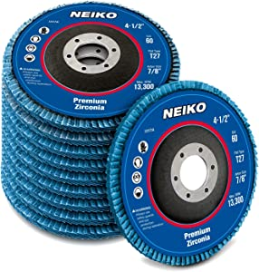 "Neiko 11118A Premium Zirconia Flap Disc | 4.5"" x 7/8-Inch, 80 Grit, Flat Type #27-10 Pack"