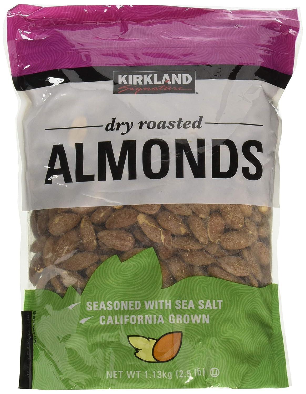Kirkland Signature Dry Roasted Almonds Seasoned with Sea Salt: 2 Bags of 2.5 Lb