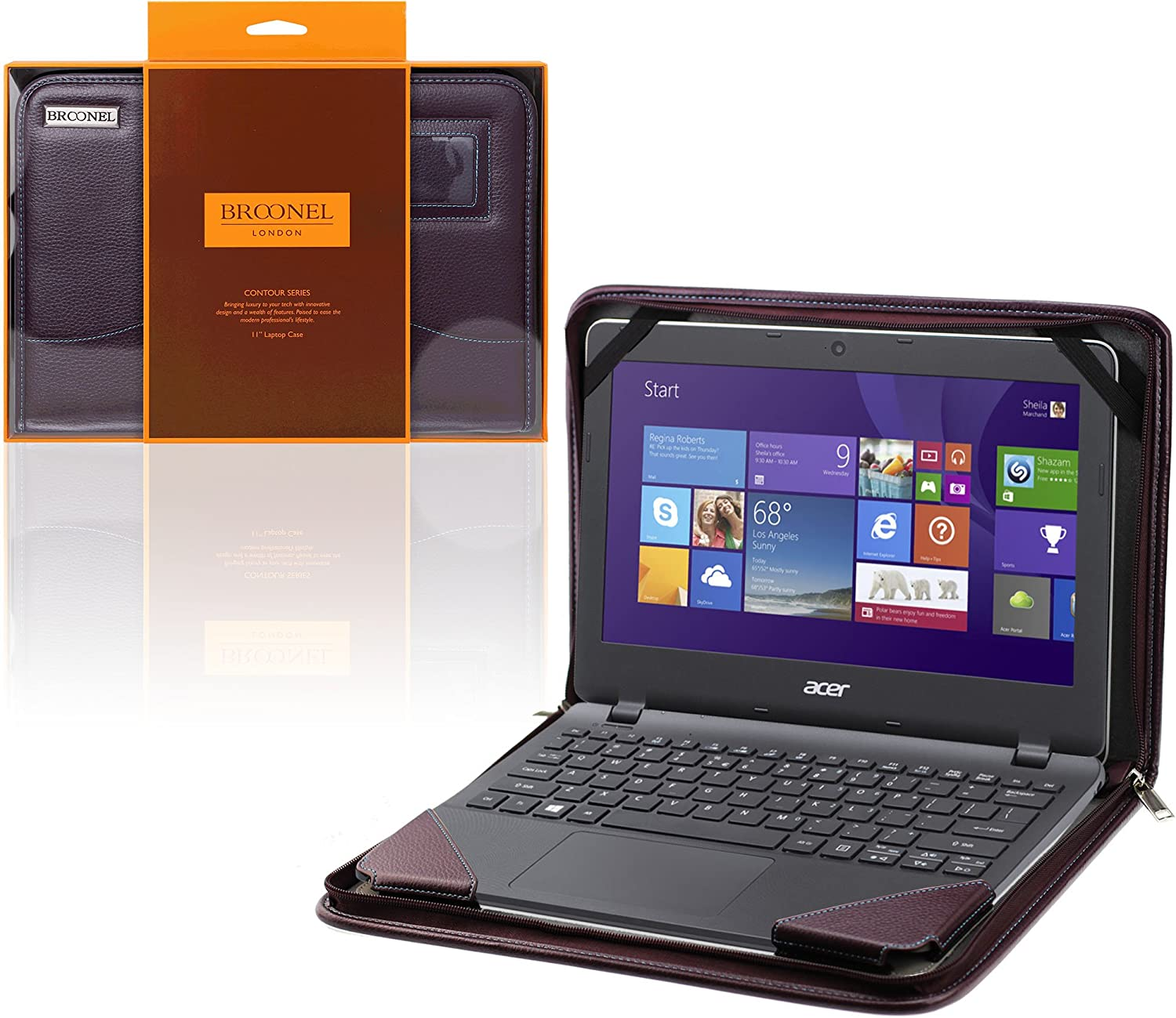 """Broonel - Contour Series - Purple Vegan Leather Portfolio Case Cover Sleeve Compatible with The ACER Aspire One Cloudbook 14"""" Laptop"""