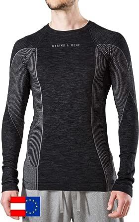 Merino & More Merino Ski Underwear Para Hombres - Ropa Interior Funcional Premium hecha de Lana Merino - Manga Larga - Camiseta Funcional Tamaño Negro-Gris