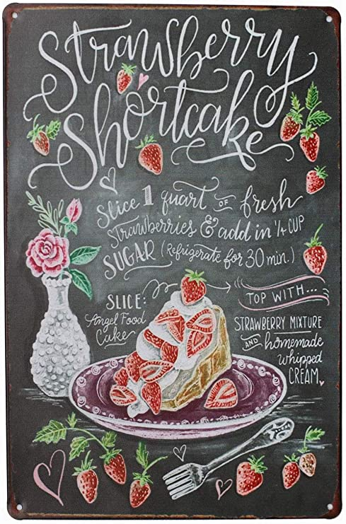 Amazon Com Ufcell Vintage Retro 8x12 Sign Strawberry Shortcake Berries Funny Fruits Vegetables Food Sweet Summer Wall Decor Home Novlety Tin Metal Kitchen
