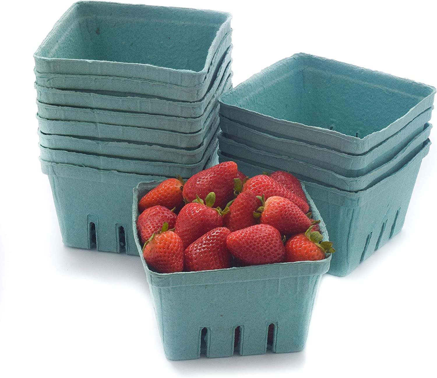 42 Pack QUART Green Molded Pulp Fiber Berry/Produce Vented Baskets for Fruit and Vegetable