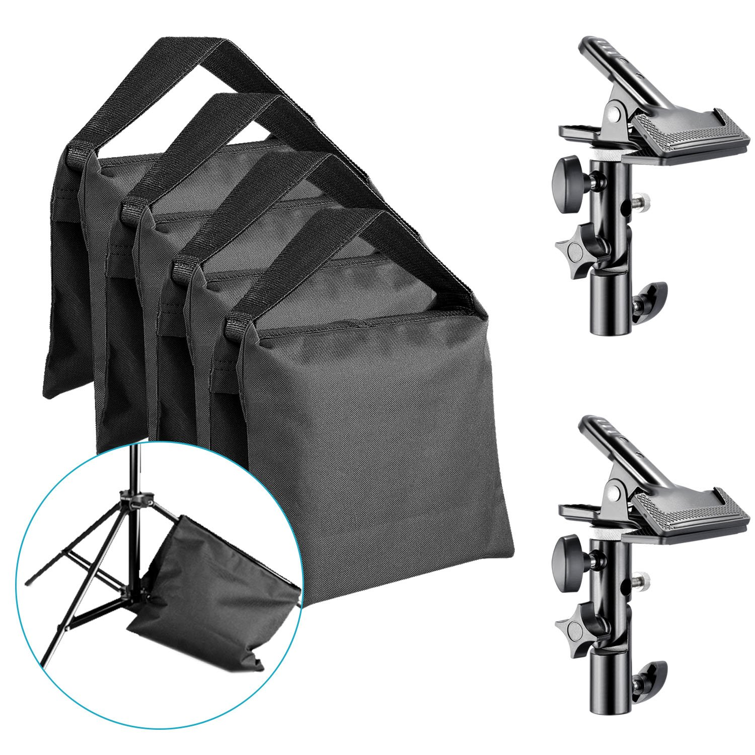 Neewer 4-Pack Heavy Duty Sandbag for Photo Studio Light Stands Boom Arms and 2-Pack Metal Reflector Clamp with 5/8-inch Light Stand Attachment, Black (Empty Sandbag) 90092427