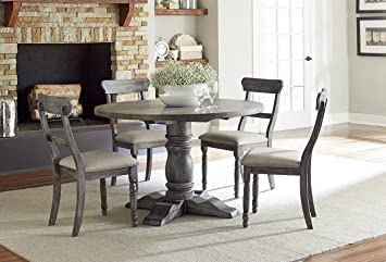 Muses Round Complete Dining Table In Dove Gray