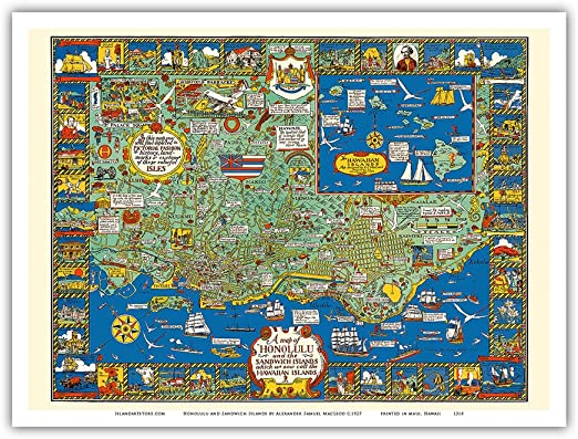 Pictorial Map of the Hawaiian Islands Wall Art Poster Decor Vintage Hawaii Repro