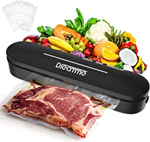 Vacuum Sealer Machine Dreamme Automatic Vacuum Food Sealer Heat Sealing Vacuum for Food Savers Starter Kit/Compact Design/Avoid Dehydration/Dry Moist Model Food Preservation/Simple To Use (Black)