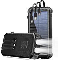 GOODaaa G30 30000mAh Solar Portable Power Bank with Built-in USB Type-C, Micro USB & Lightning Cables